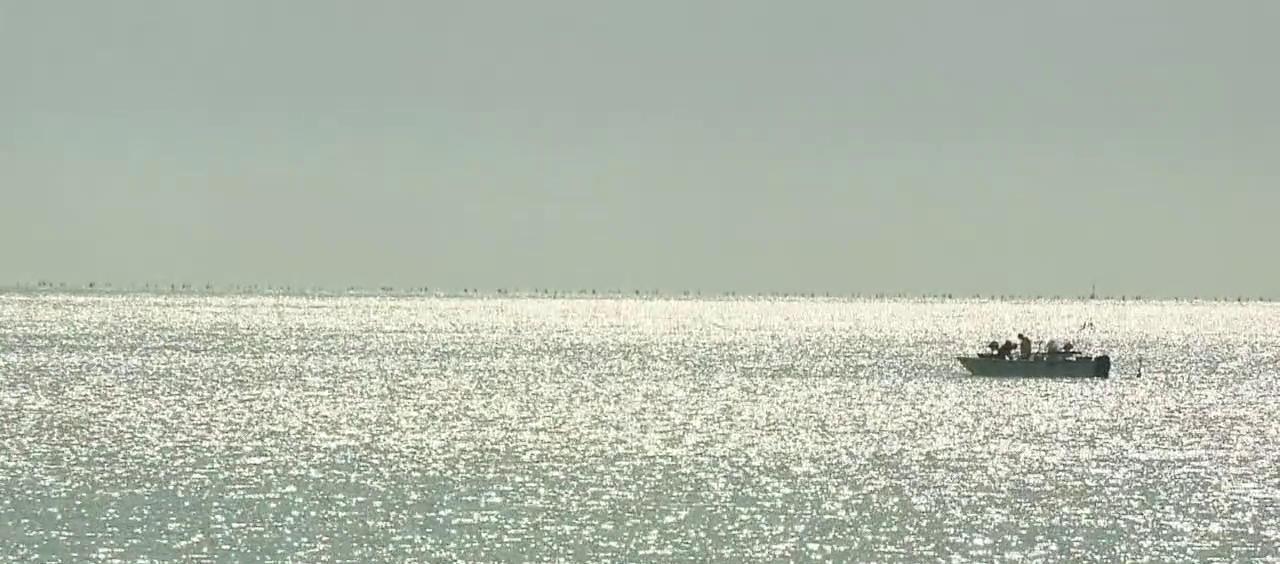 Un'imbarcazione sull'orizzonte del mare di Tortoreto Lido